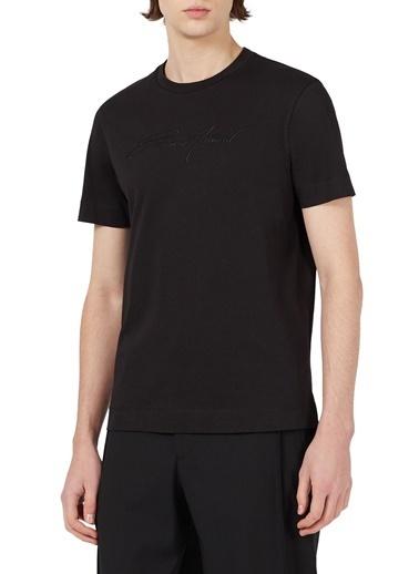 Emporio Armani  Baskılı Bisiklet Yaka % 100 Pamuk T Shirt Erkek T Shırt 3K1Tl6 1Julz 0999 Siyah